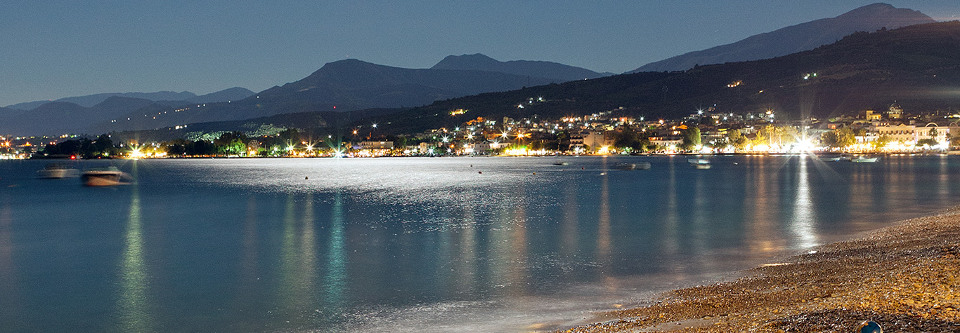 aigio beach by night